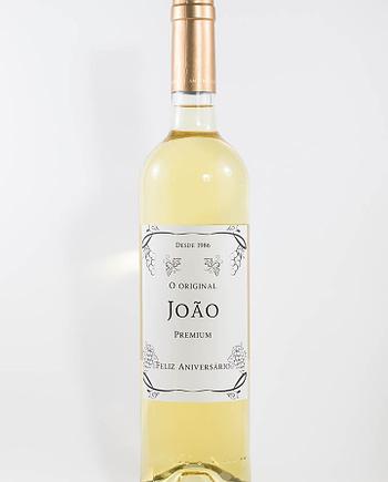 Garrafa de vinho branco com rótulo personalizado - Aniversário - Premium com nome do aniversariante e ano de nascimento