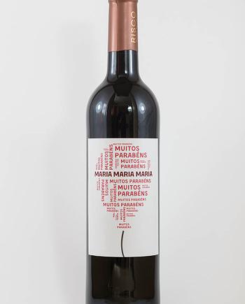 Garrafa de vinho com rótulo pesonalizável - Aniversário - Balão com muitos parabéns e nome personalizável em vermelho