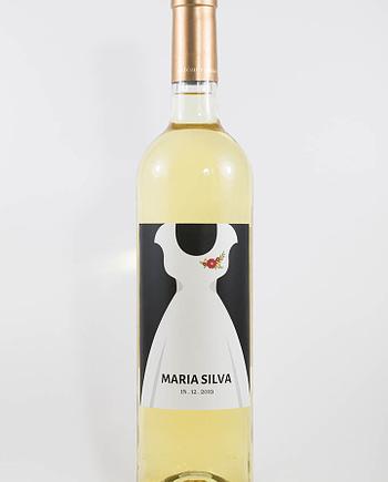 Garrafa de vinho branco com rótulo personalizável - Casamento - Vestido: nomes e data personalizáveis