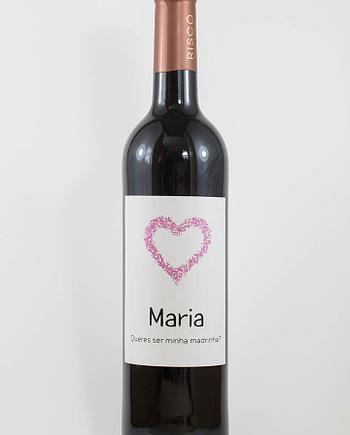 Garrafa de vinho tinto com rótulo personalizado - Casamento - Queres ser minha madrinha, com nome e coração cor de rosa