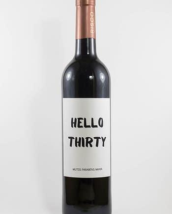 Garrafa de vinho tinto com rótulo personalizado - Aniversário - Hello Birthday com idade e nome