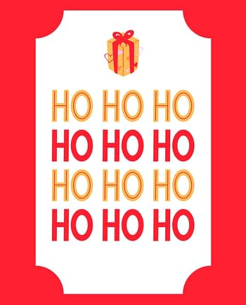 Rótulo de Natal com prenda e ho ho ho