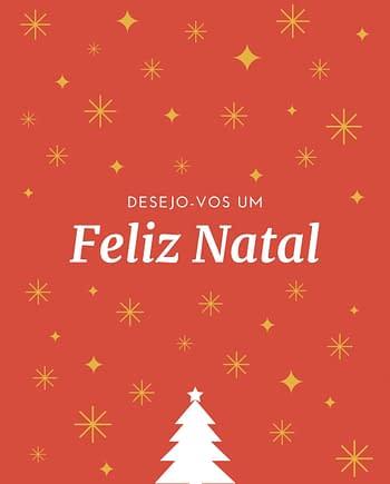 Rótulo de Natal com uma árvore estrelas em fundo laranja
