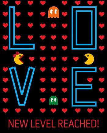 Rótulo de dia do namorados - Pacman e Pacwoman