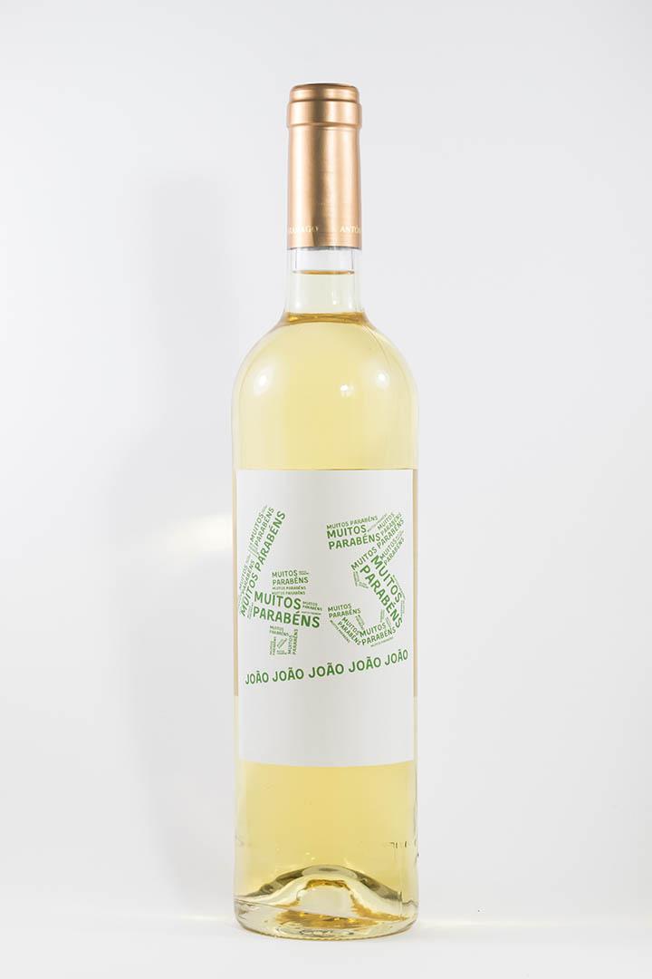 Garrafa de vinho branco com rótulo personalizável - Aniversário - com idade desenhada com muitos parabéns e nome em verde
