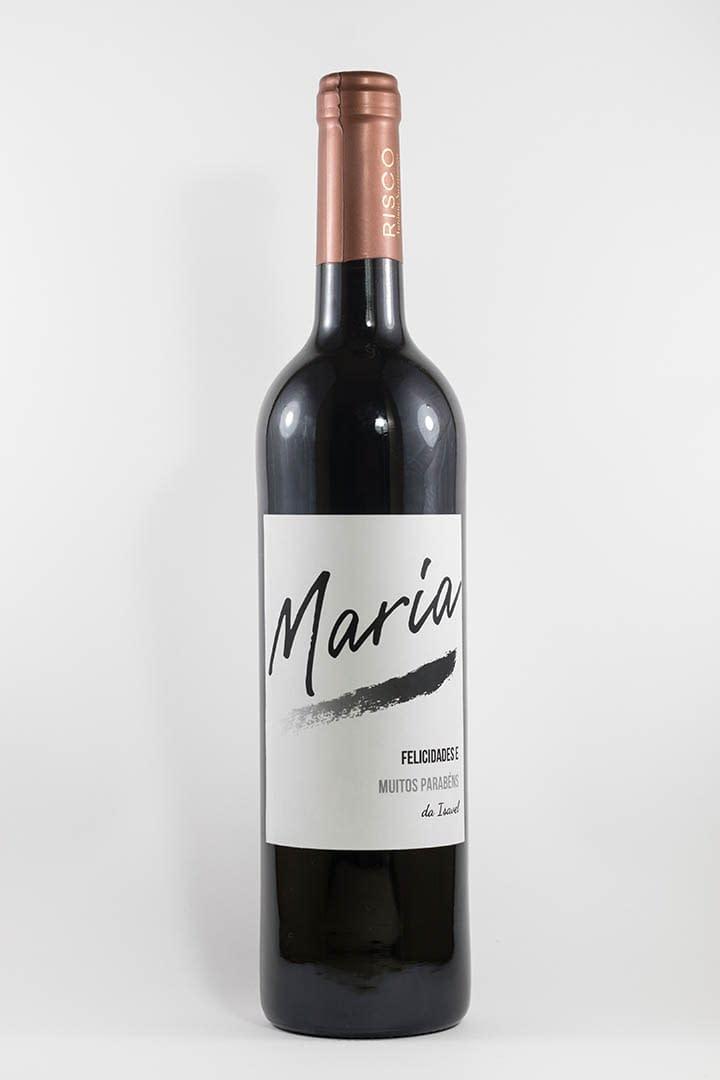 Garrafa de vinho tinto com rótulo personalizável - Aniversário - com nomes personalizados em preto e branco