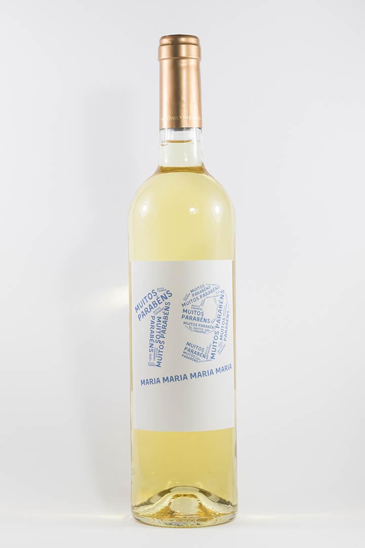 Garafa de vinho branco com rótulo personalizável - Aniversário - com idade desenhada com muitos parabéns e nome em azul