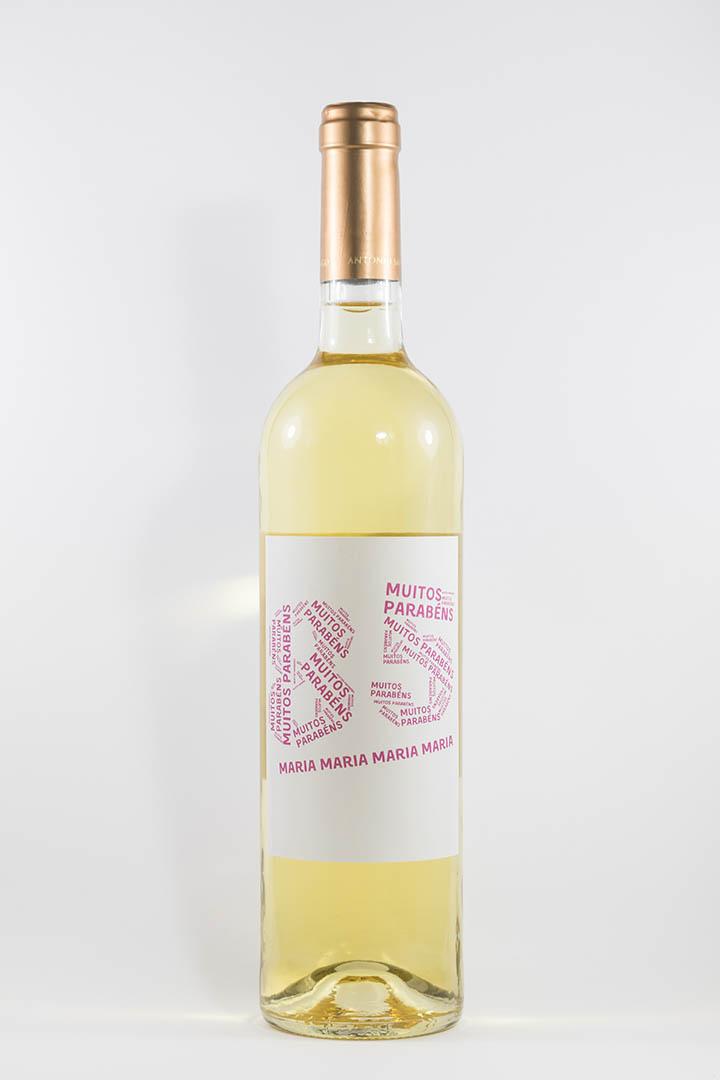 Garrafa de vinho branco com rótulo personalizável - Aniversário - com idade desenhada com muitos parabéns e nome em lilás