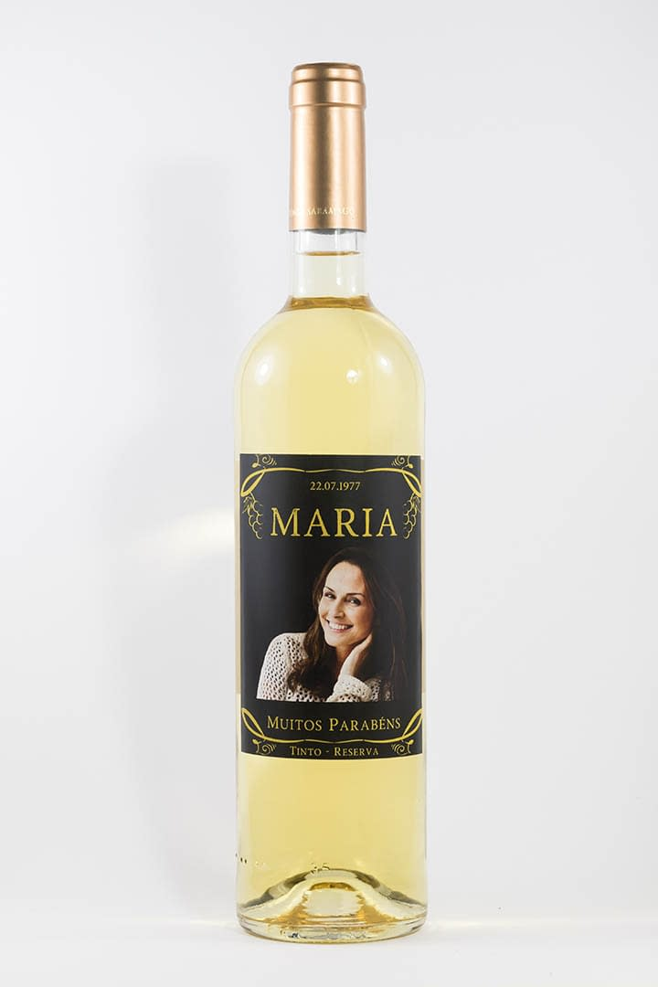 Garrafa de vinho branco com rótulo personalizado - Aniversário - Premium com fotografia, nome do aniversariante e ano de nascimento