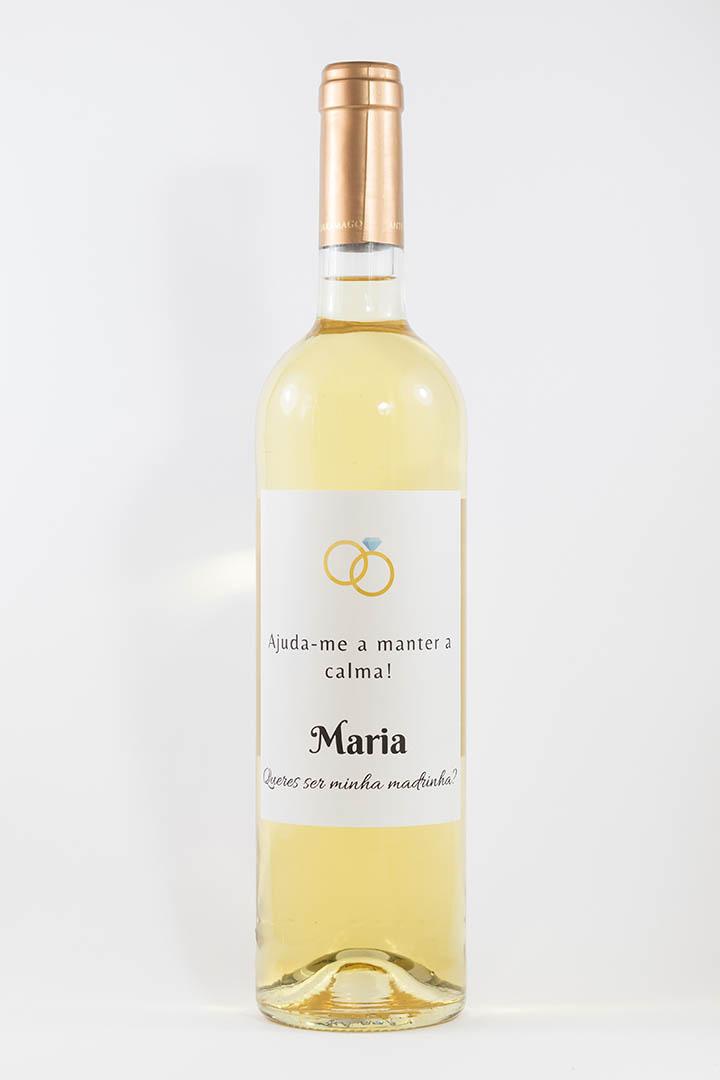 Garrafa de vinho branco com rótulo personalizado - Casamento - Ajuda-me a manter a calma, com nome e anéis coloridos