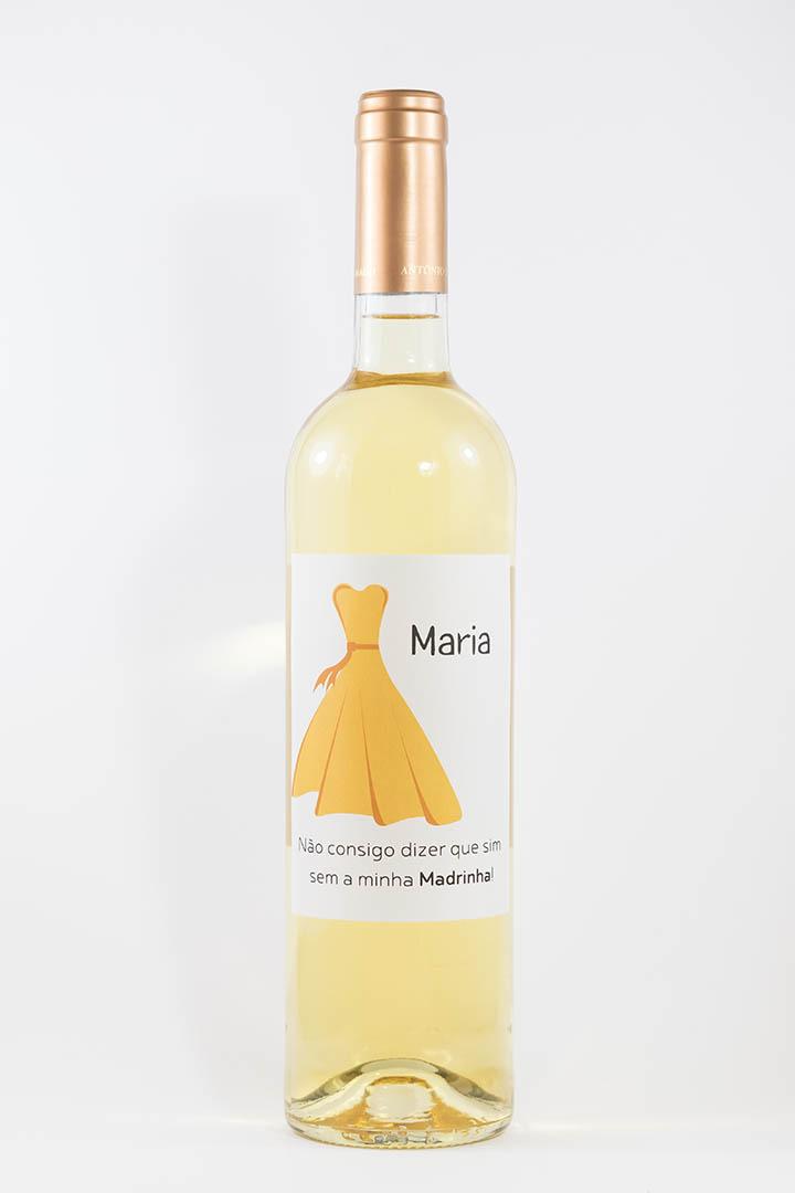Garrafa de vinho branco com rótulo personalizado - Casamento - Vestido amarelo com nome