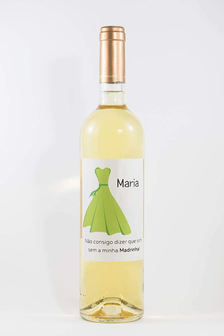 Garrafa de vinho branco com rótulo personalizado - Casamento - Vestido verde com nome