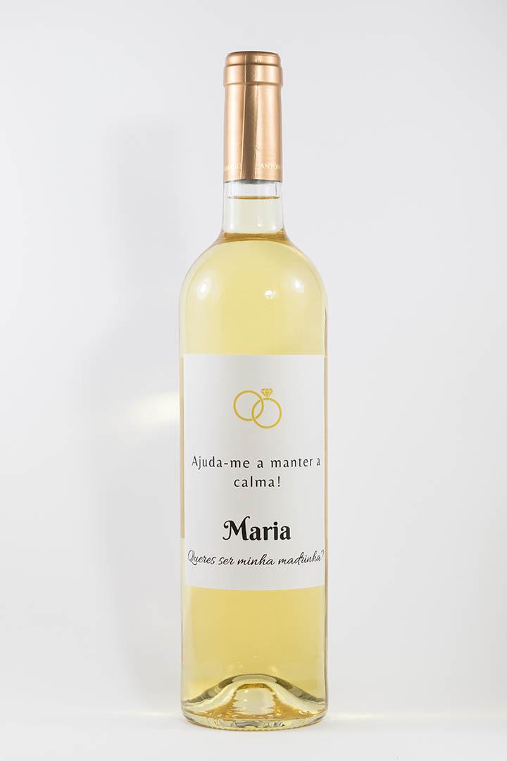 Garrafa de vinho branco com rótulo personalizado - Casamento - Ajuda-me a manter a calma, com nome e anéis amarelos