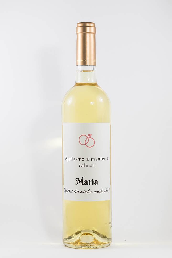 Garrafa de vinho branco com rótulo personalizado - Casamento - Ajuda-me a manter a calma, com nome e anéis cor de rosa