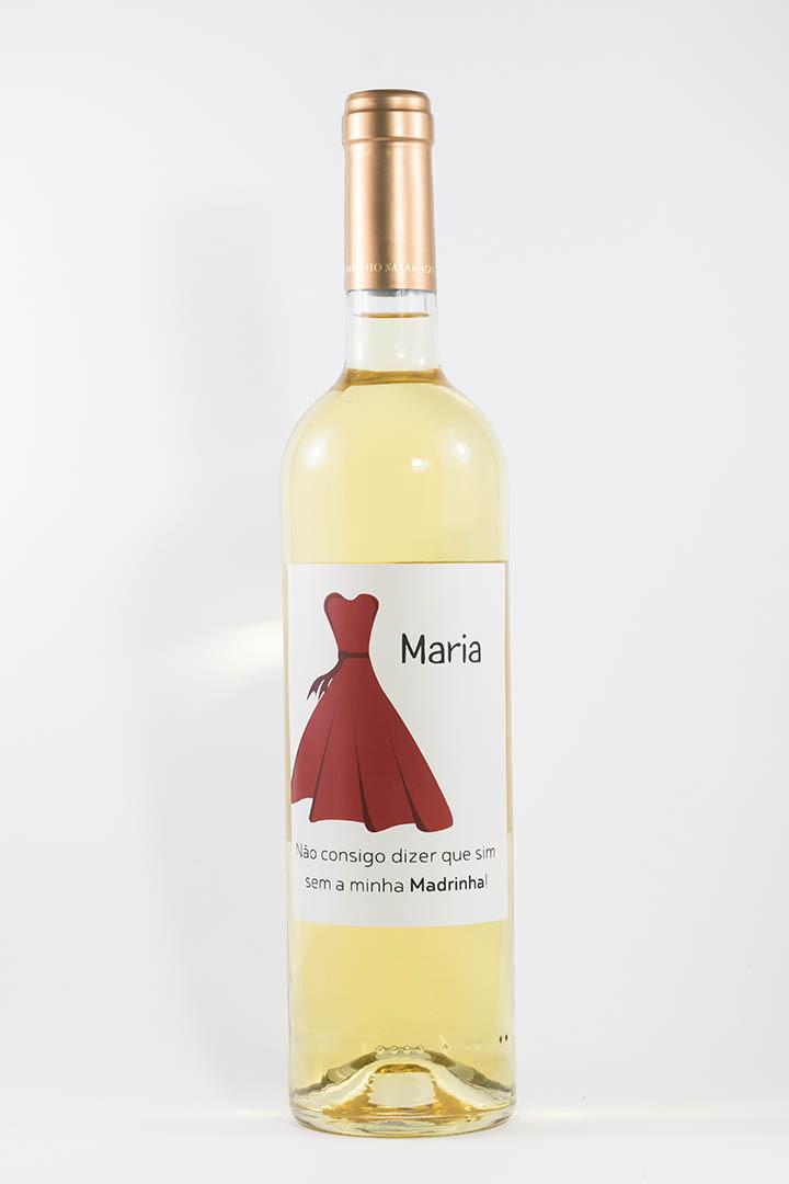 Garrafa de vinho branco com rótulo personalizado - Casamento - Vestido vermelho com nome