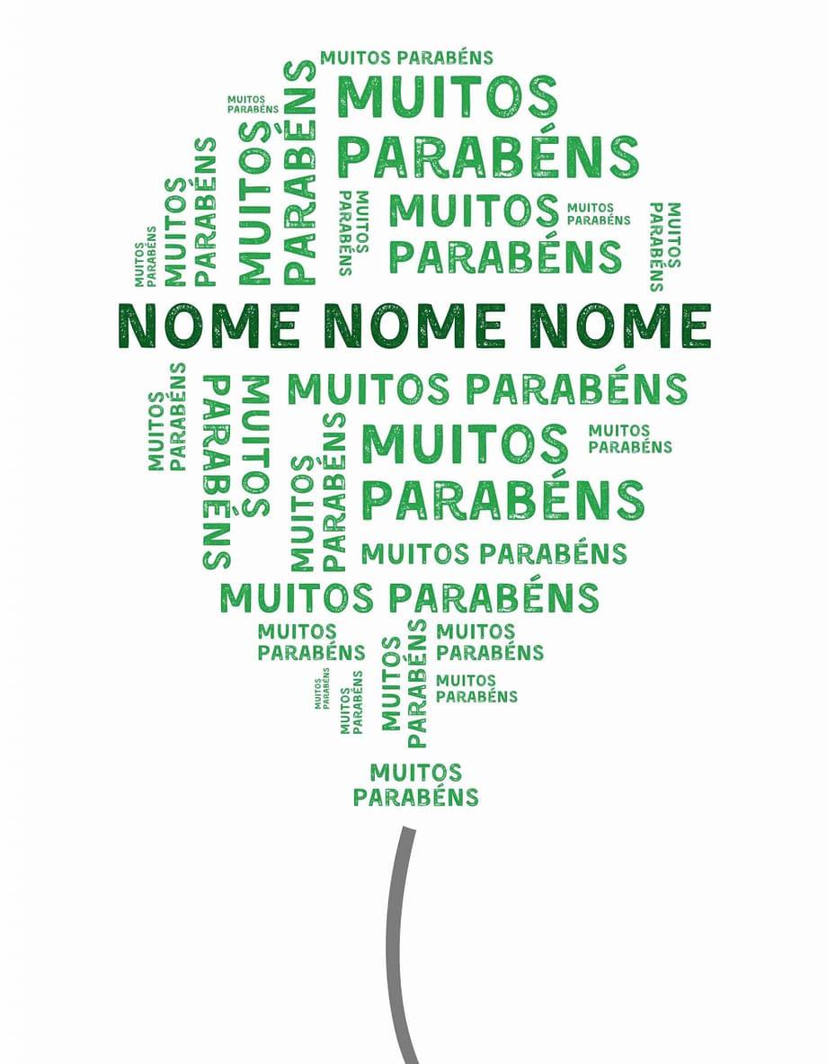 Rótulo pesonalizável - Aniversário - Balão com muitos parabéns e nome personalizável em verde