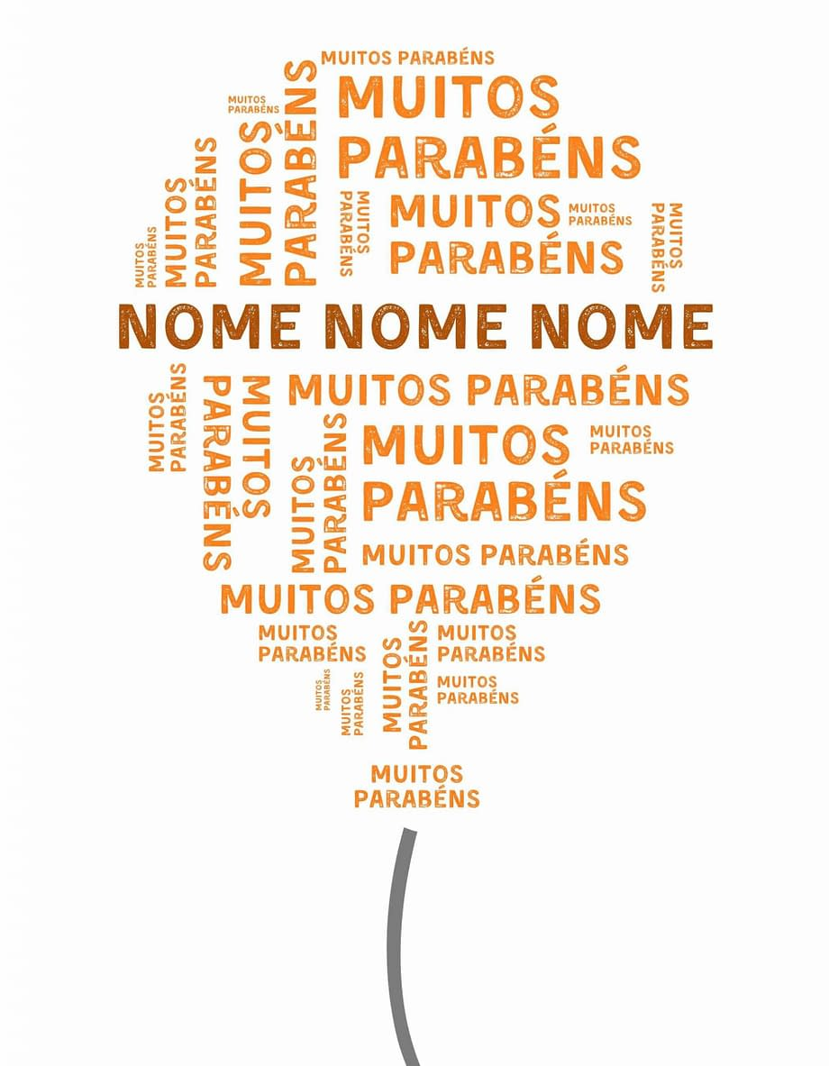 Rótulo pesonalizável - Aniversário - Balão com muitos parabéns e nome personalizável em cor de laranja