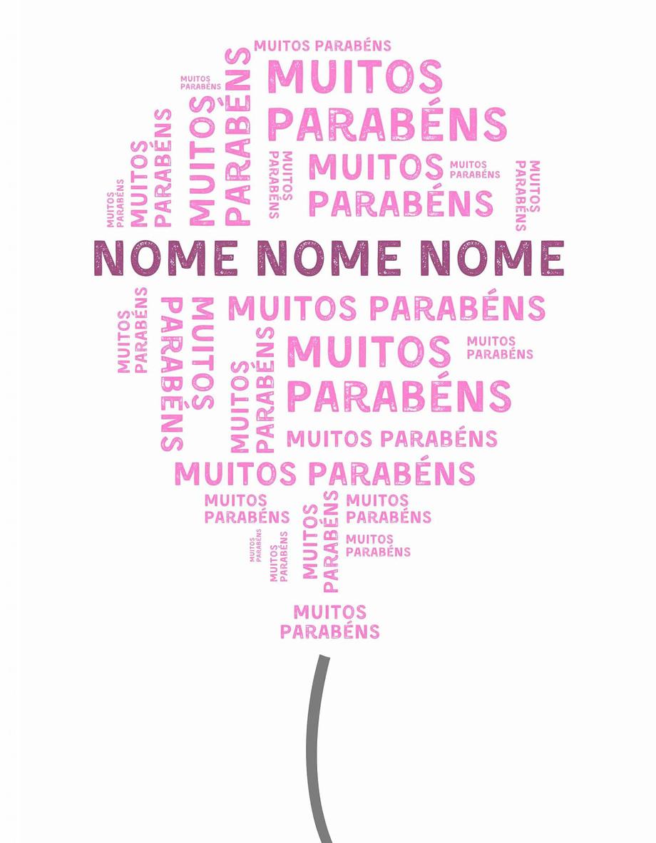 Rótulo pesonalizável - Aniversário - Balão com muitos parabéns e nome personalizável em lilás