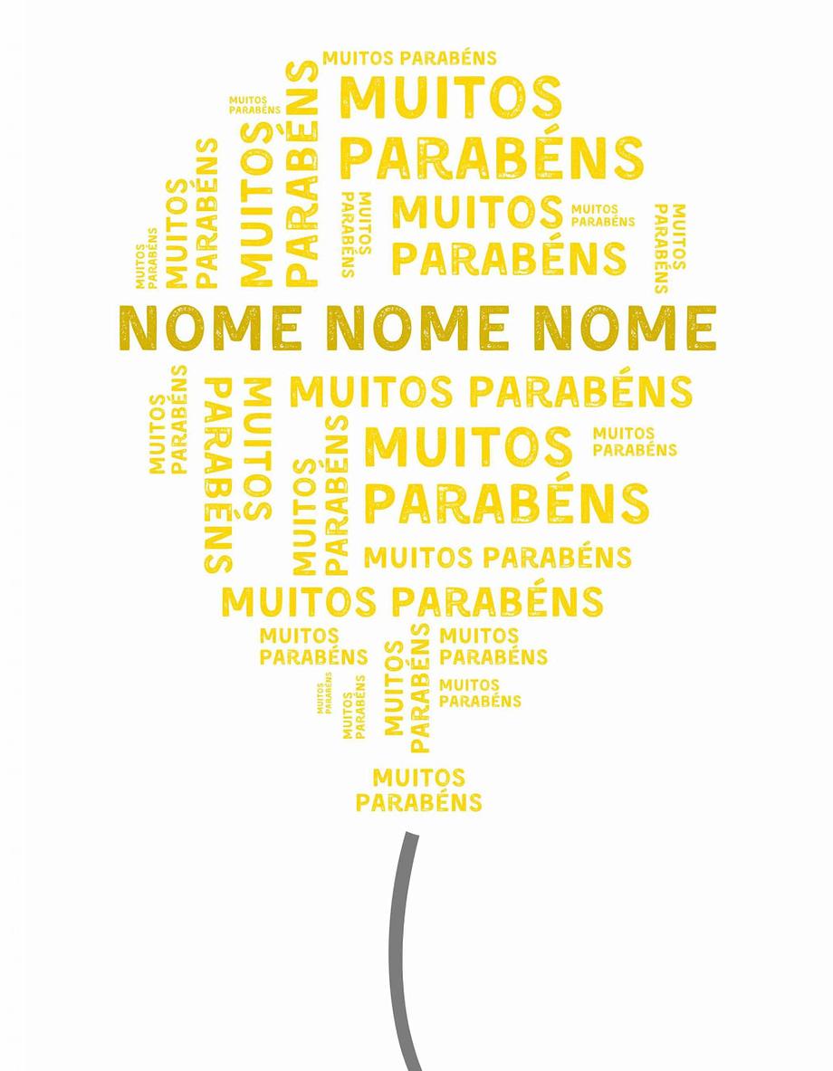 Rótulo pesonalizável - Aniversário - Balão com muitos parabéns e nome personalizável em amarelo