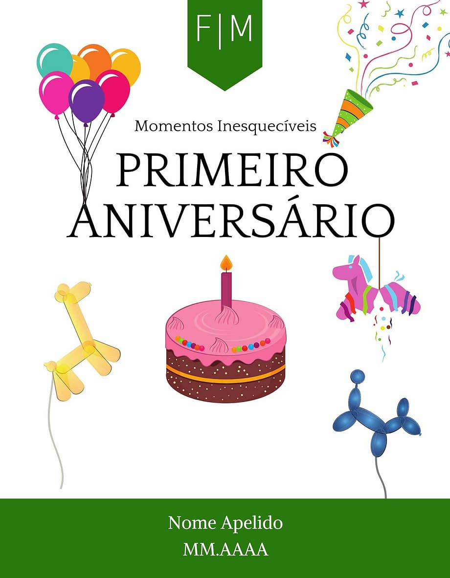 Rótulo personalizável - Bebé - Primero aniversário com iniciais, nome e data personalizáveis