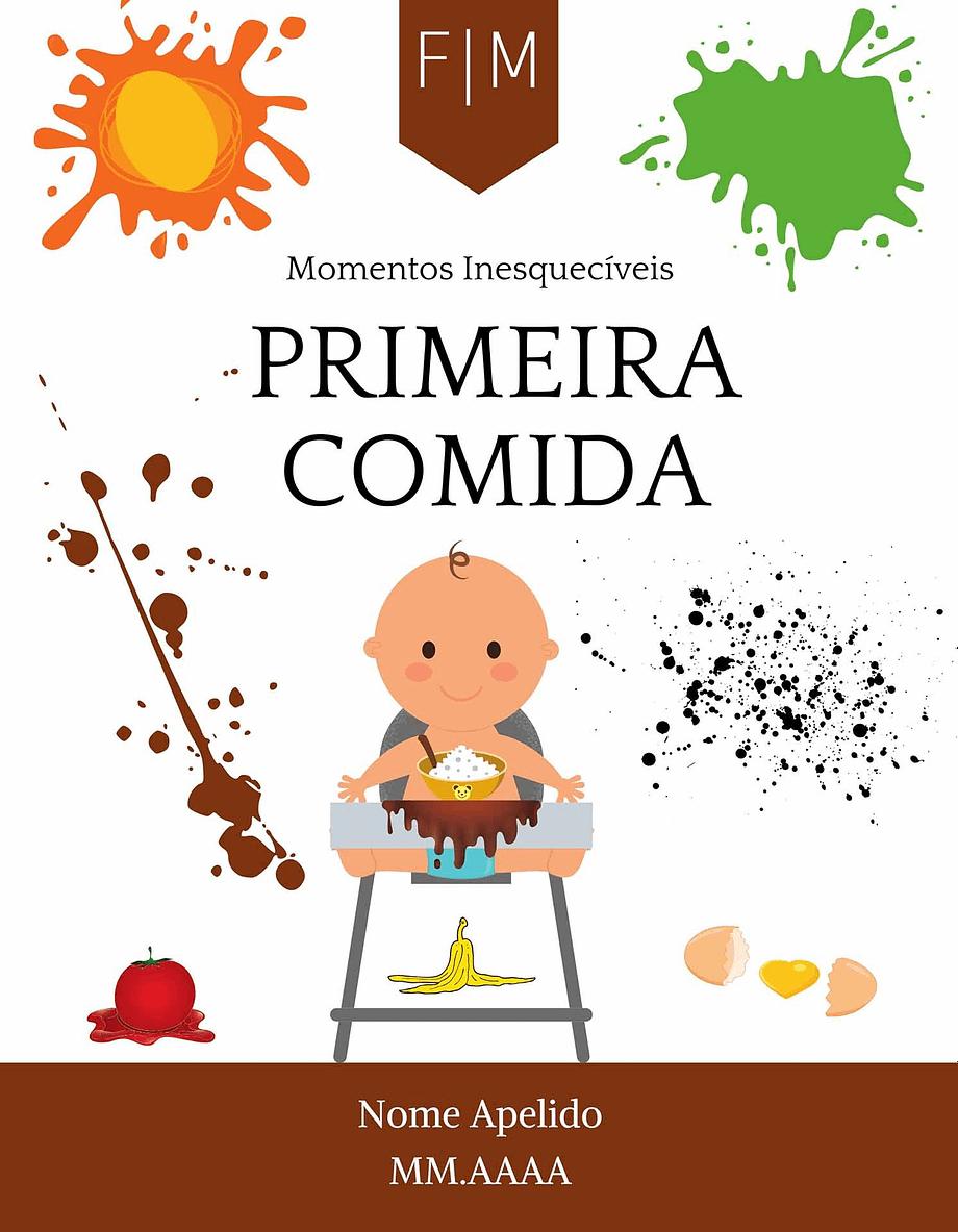 Rótulo personalizável - Bebé - Primera comida com iniciais, nome e data personalizáveis