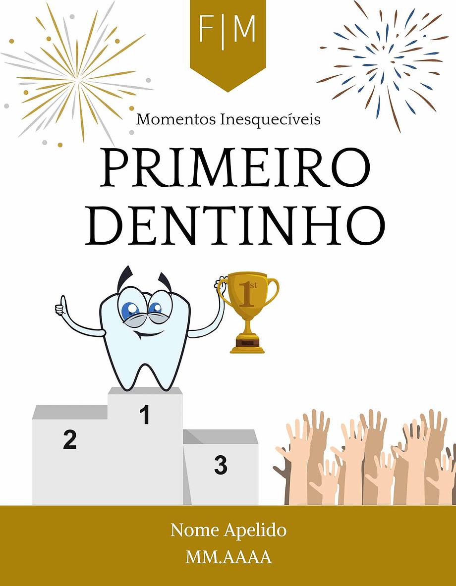 Rótulo personalizável - Bebé - Primero dentinho com iniciais, nome e data personalizáveis