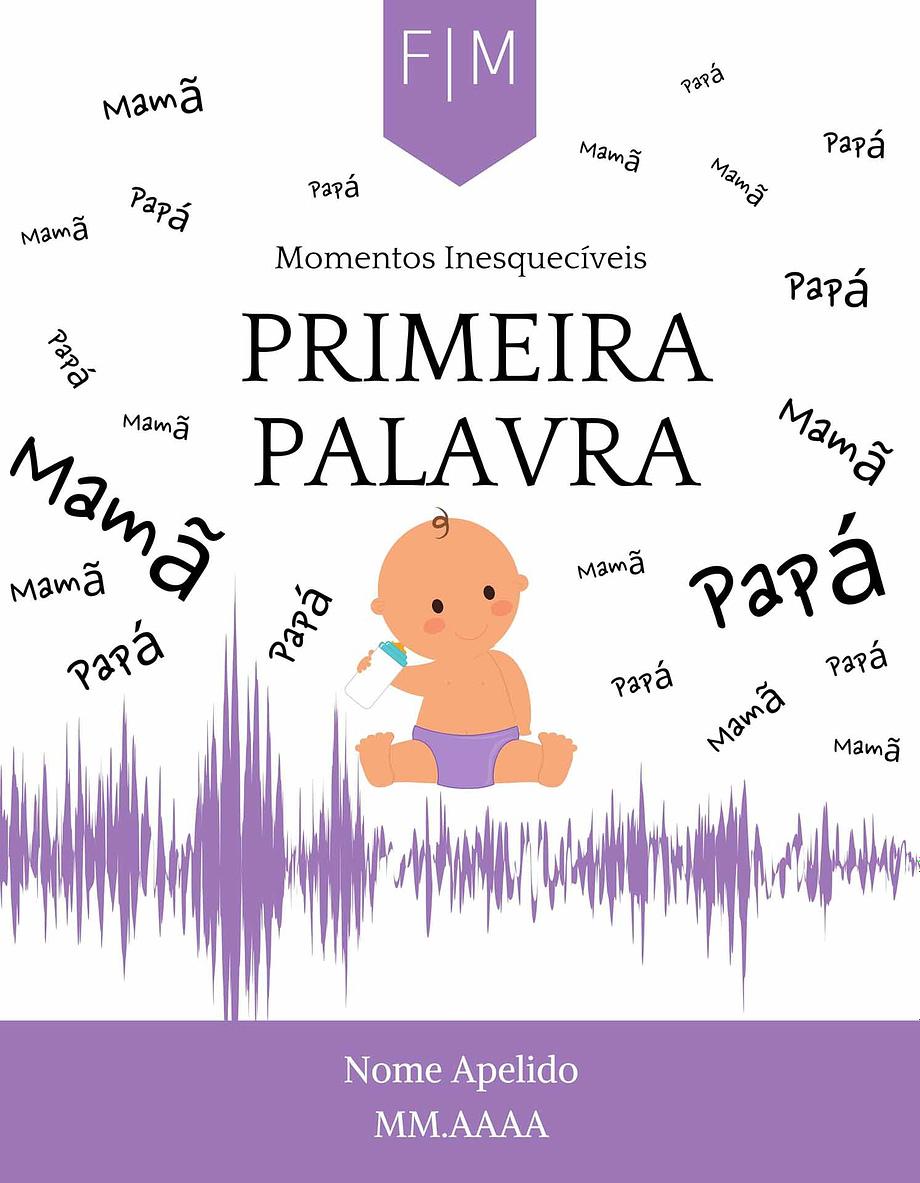 Rótulo personalizável - Bebé - Primera palavra com iniciais, nome e data personalizáveis
