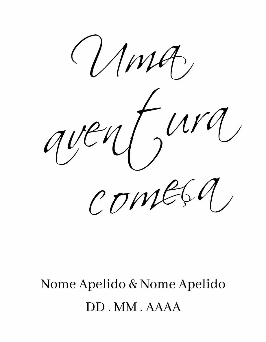 Rótulo personalizável - Casamento - Uma aventura começa: Nomes, local e data personalizáveis com letras pretas em fundo branco
