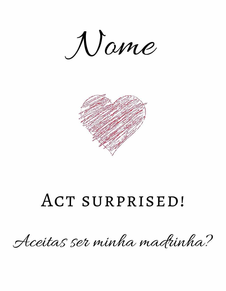 Rótulo personalizável - Madrinha - Act Surprised! Com nome personalizável