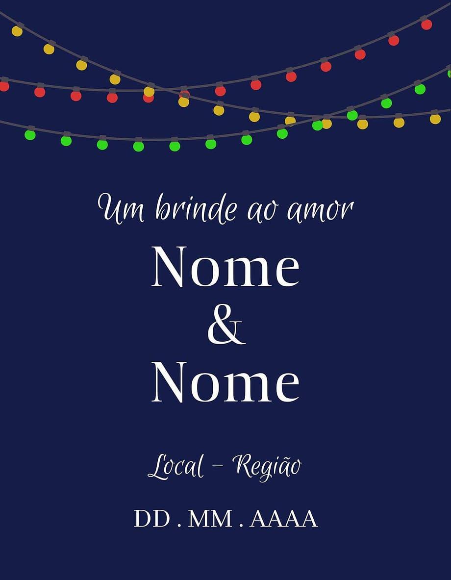 Rótulo personalizável - Casamento - Um brinde ao amor: nomes, local e data personalizáveis. Luzes coloridas em fundo azul