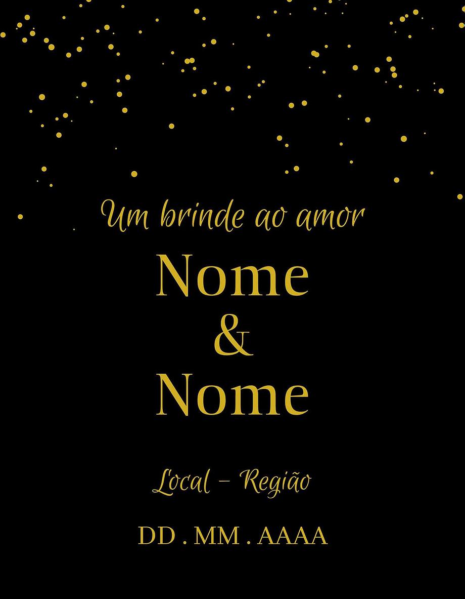 Rótulo personalizável - Casamento - Um brinde ao amor: nomes, local e data personalizáveis. Estrelas em fundo preto