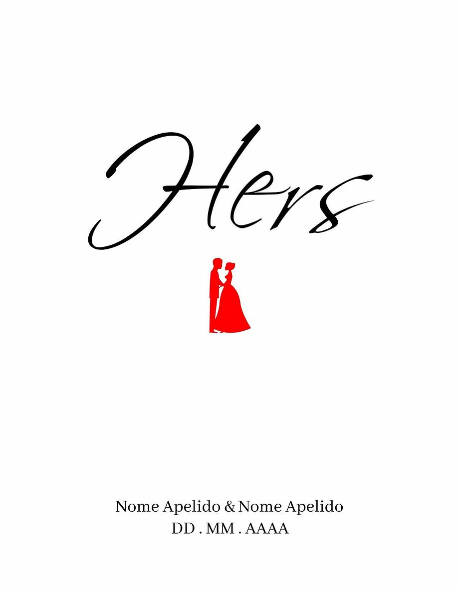 Rótulo personalizável - Casamento - Hers com casal: nomes, local e data personalizáveis