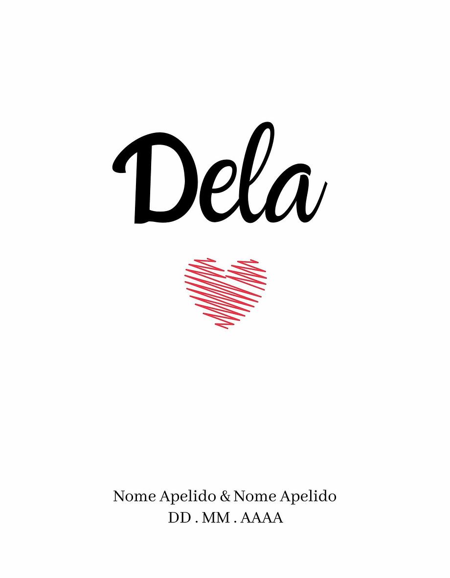 Rótulo personalizável - Casamento - Dela com coração: nomes, local e data personalizáveis