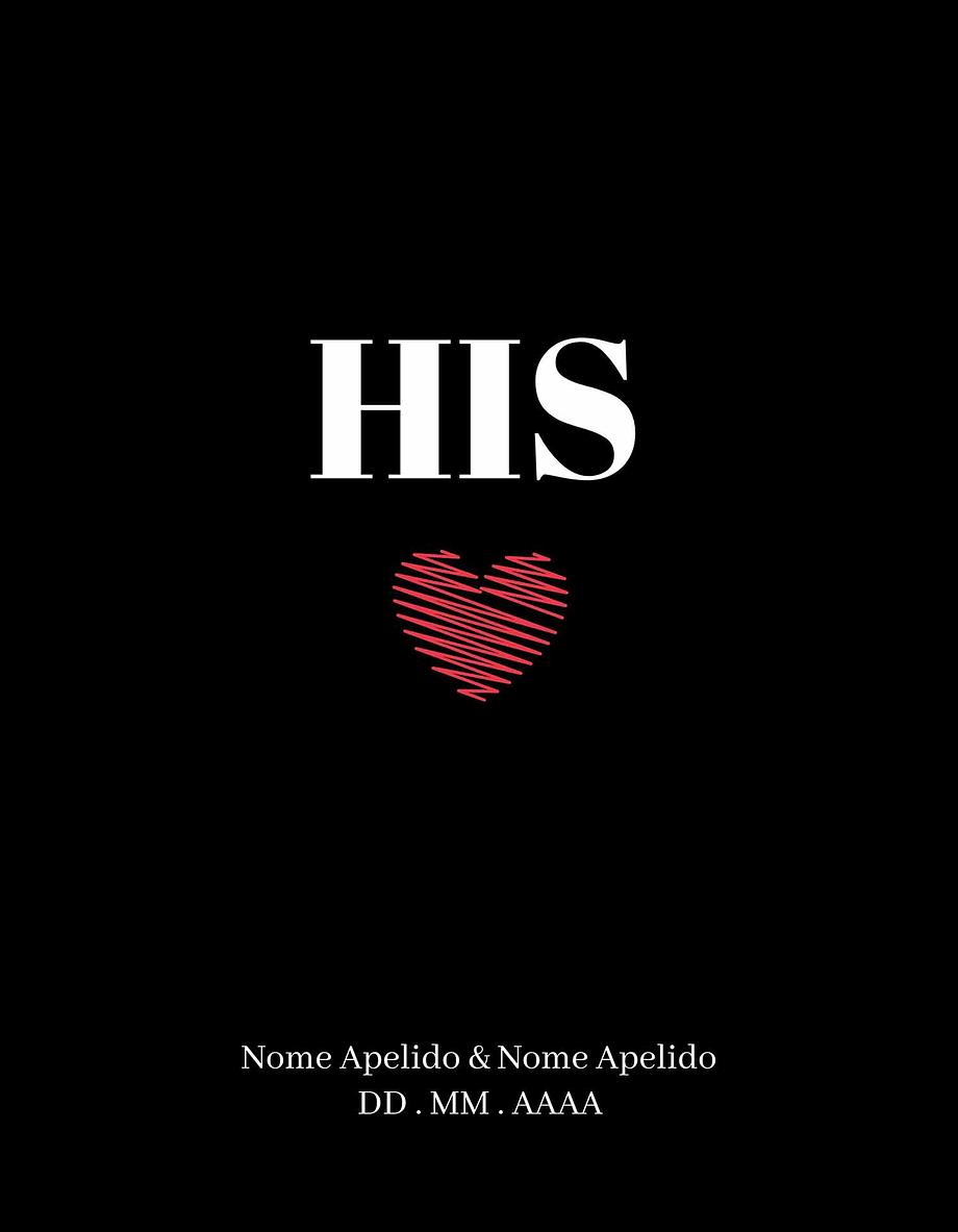 Rótulo personalizável - Casamento - His com coração: nomes, local e data personalizáveis