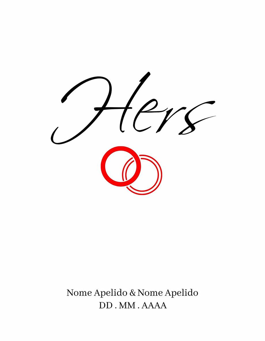 Rótulo personalizável - Casamento - Hers com anéis: nomes, local e data personalizáveis