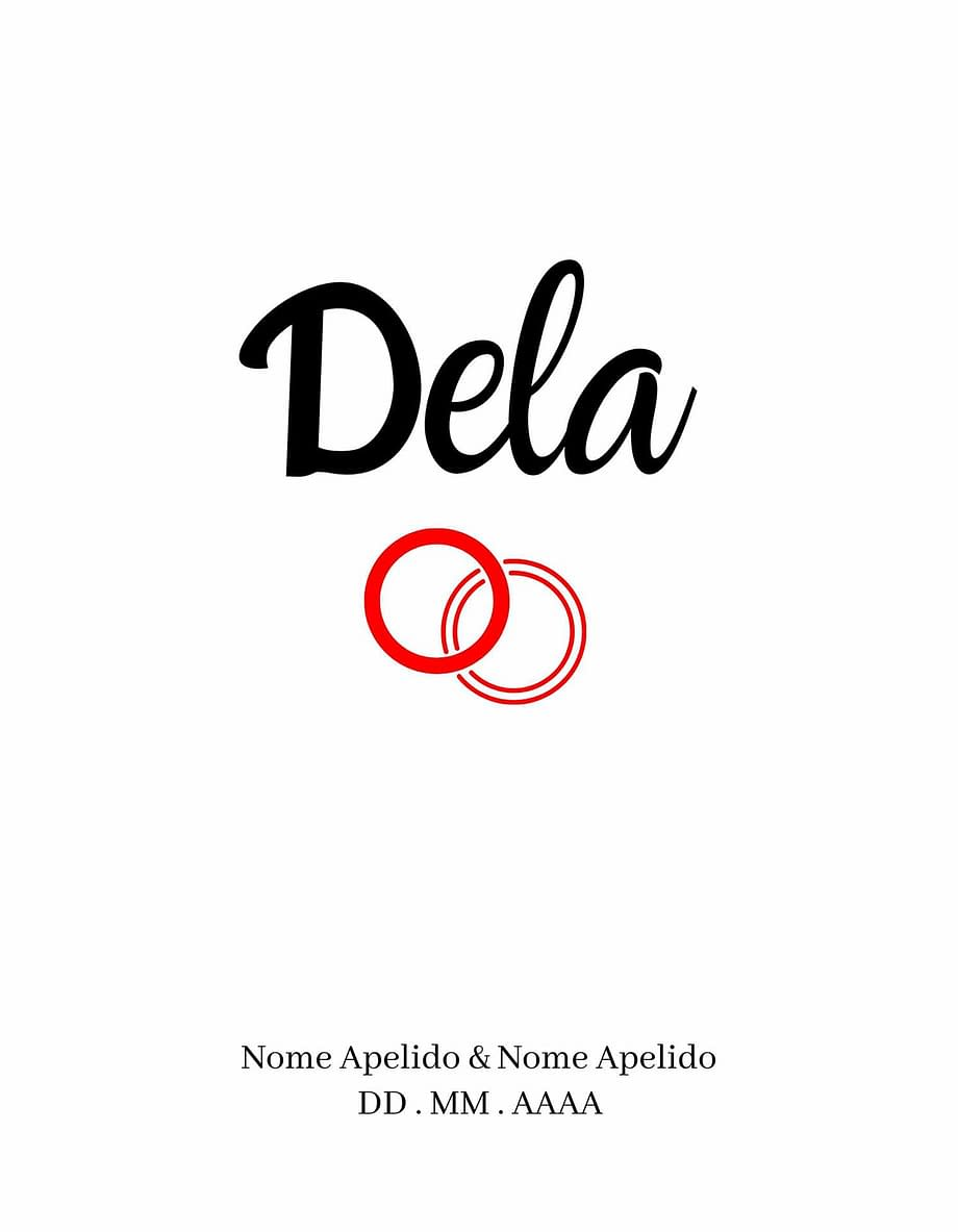 Rótulo personalizável - Casamento - Dela com anéis: nomes, local e data personalizáveis