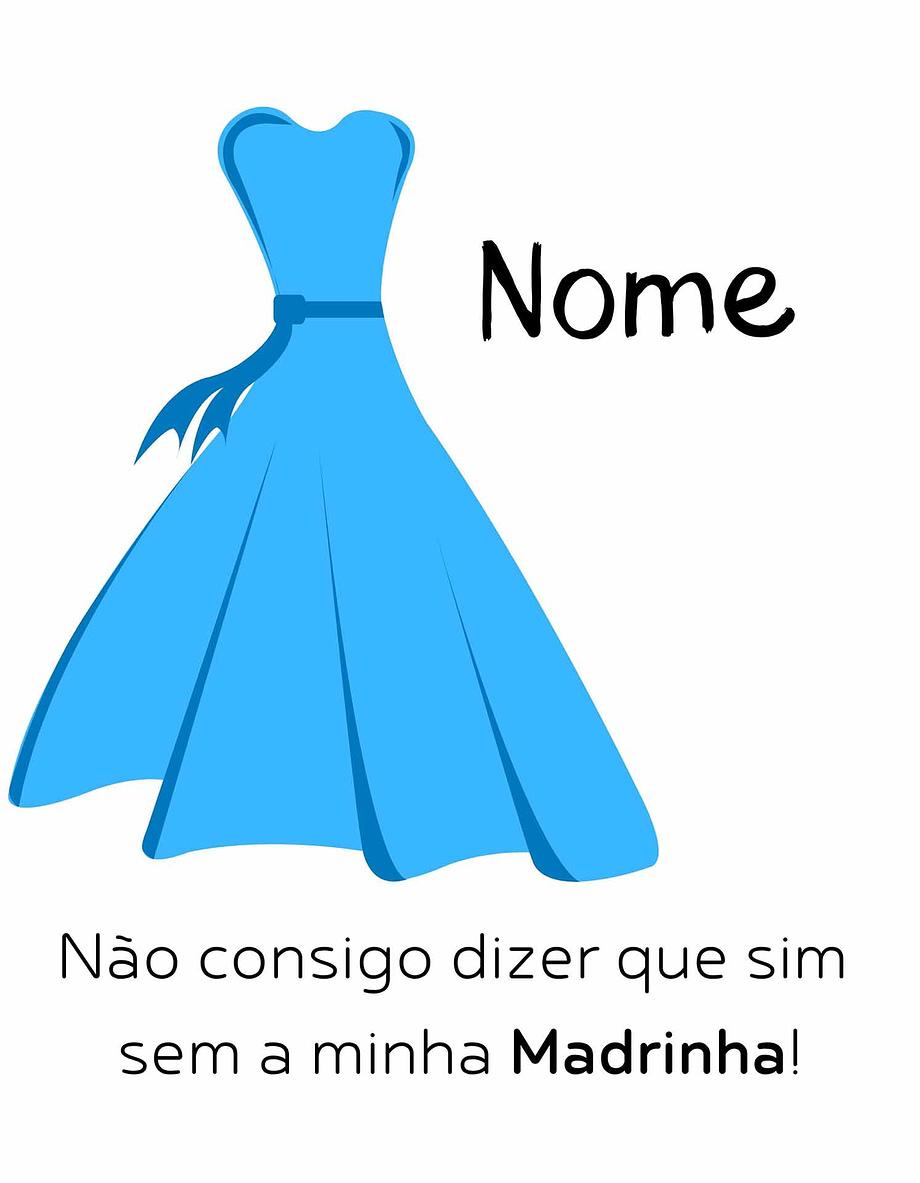 Rótulo personalizável - Madrinha - Vestido azul com nome personalizável