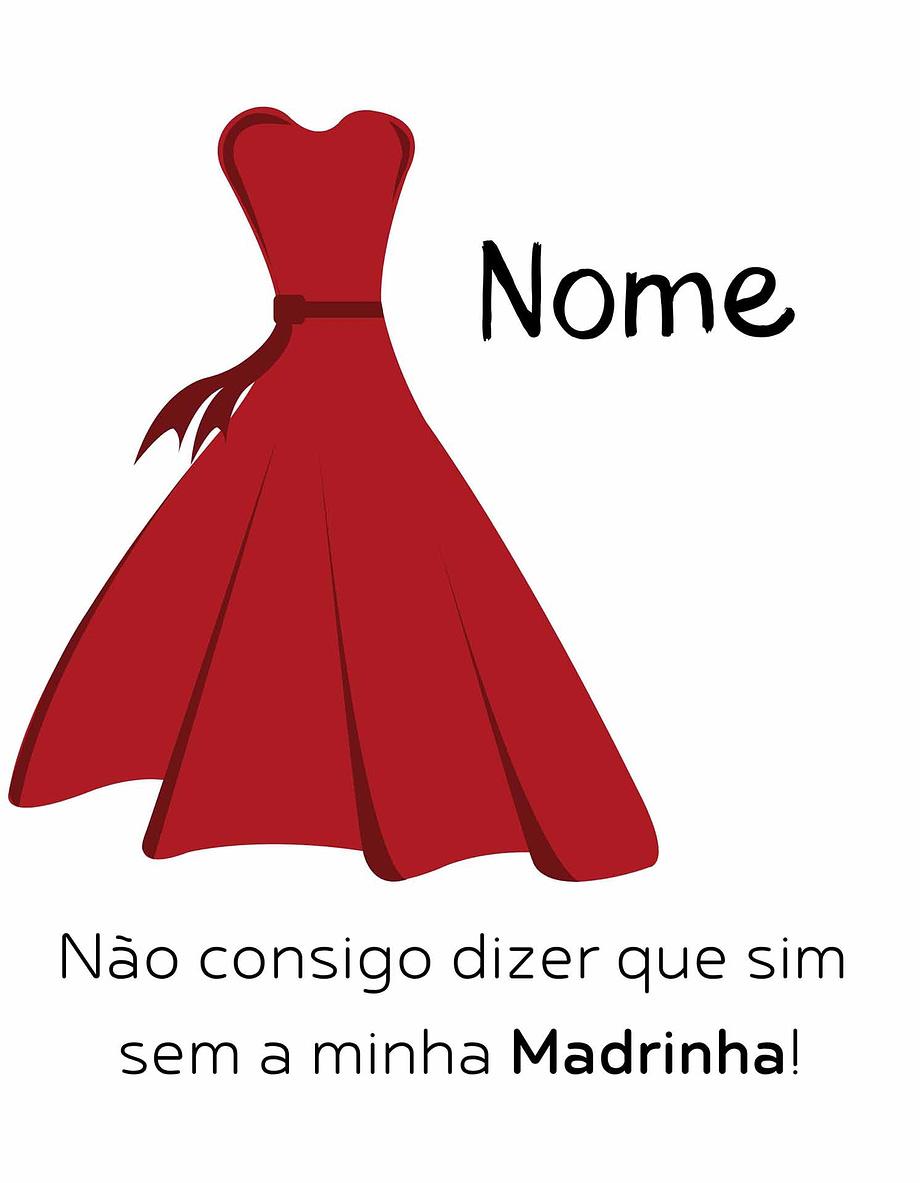 Rótulo personalizável - Madrinha - Vestido vermelho com nome personalizável