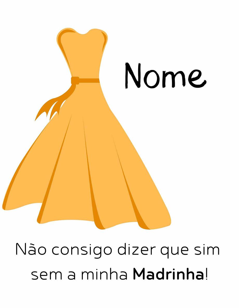 Rótulo personalizável - Madrinha - Vestido amarelo com nome personalizável