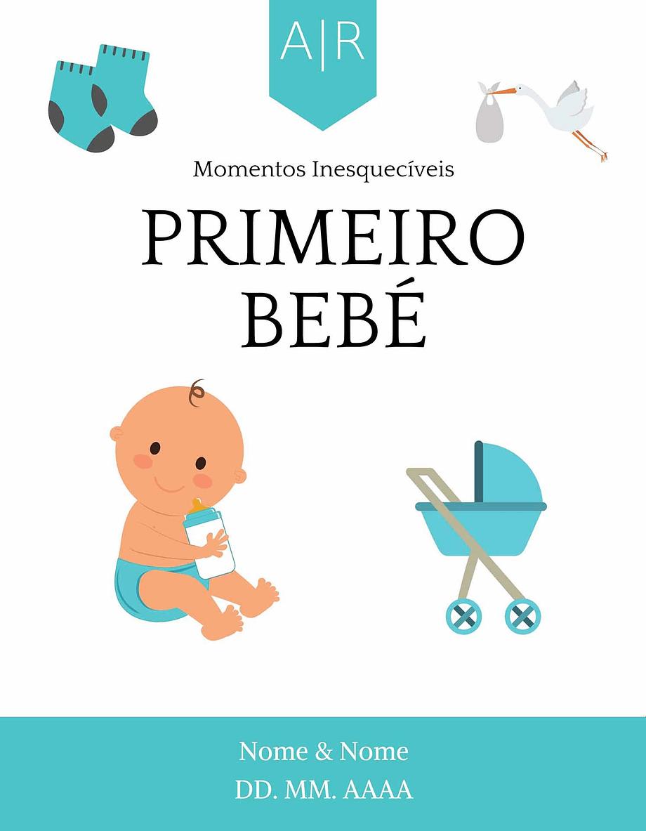 Rótulo personalizável - Casamento - Primeiros momentos: Primeiro Bebé com nomes e data personalizáveis em azul