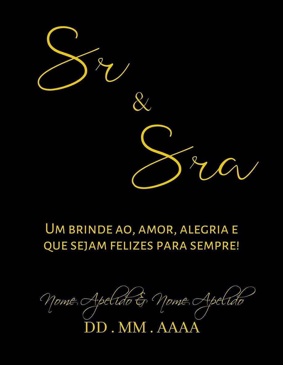 Rótulo personalizável - Casamento - Sr e Sra: nomes e data personalizáveis. Letras amarelas em fundo preto