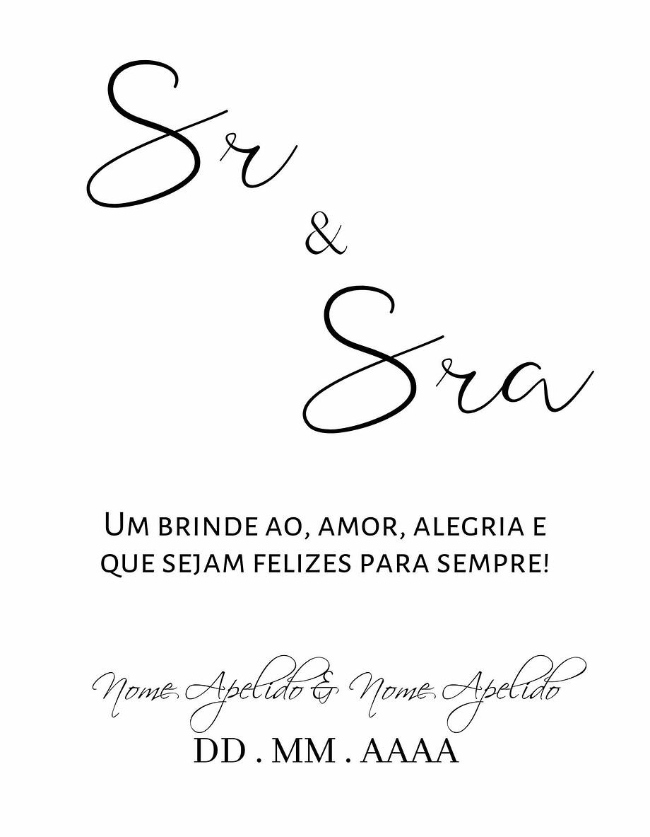 Rótulo personalizável - Casamento - Sr e Sra: nomes e data personalizáveis. Letras pretos em fundo branco
