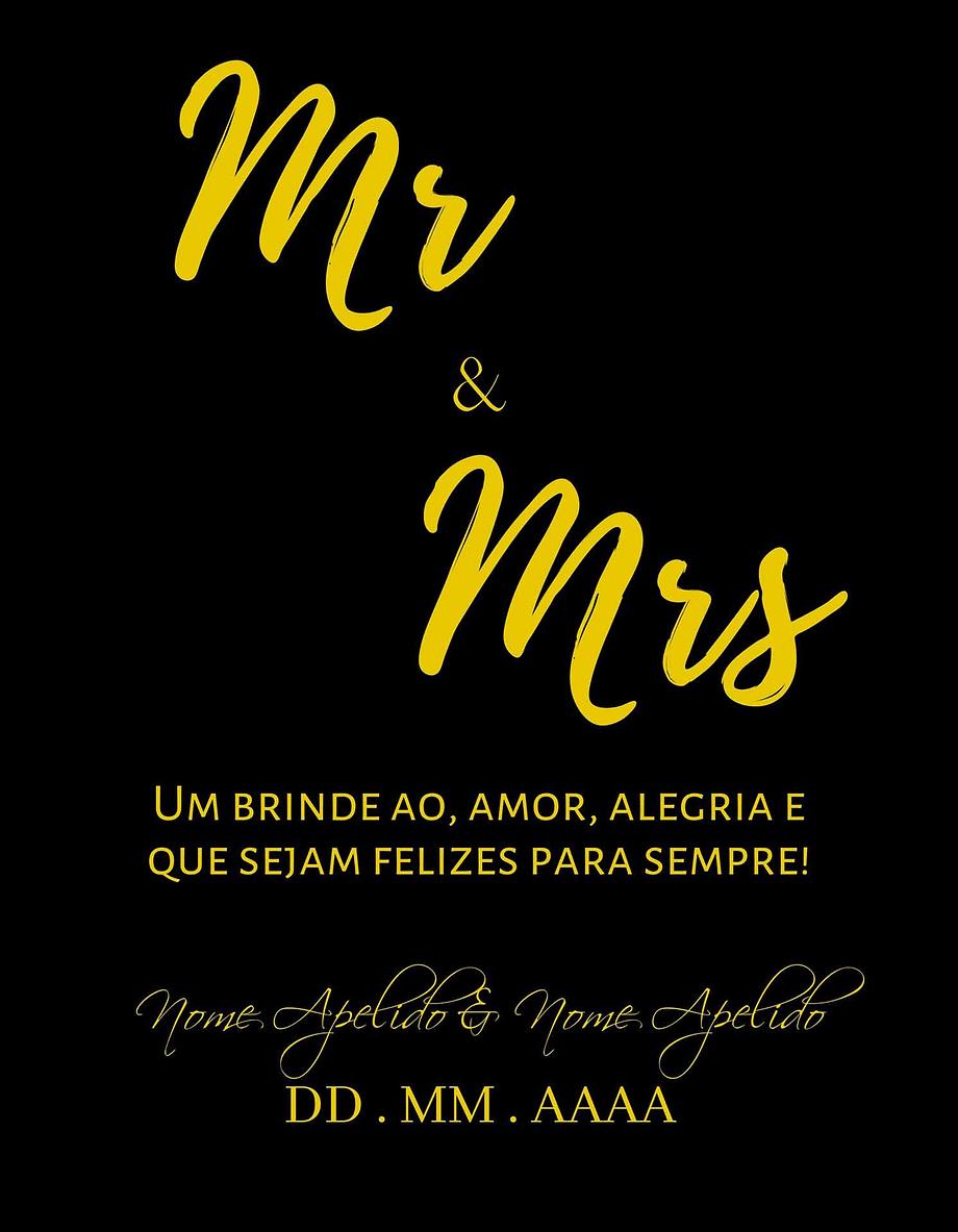 Rótulo personalizável - Casamento - Mr and Mrs: nomes e data personalizáveis. Letras amarelas em fundo preto