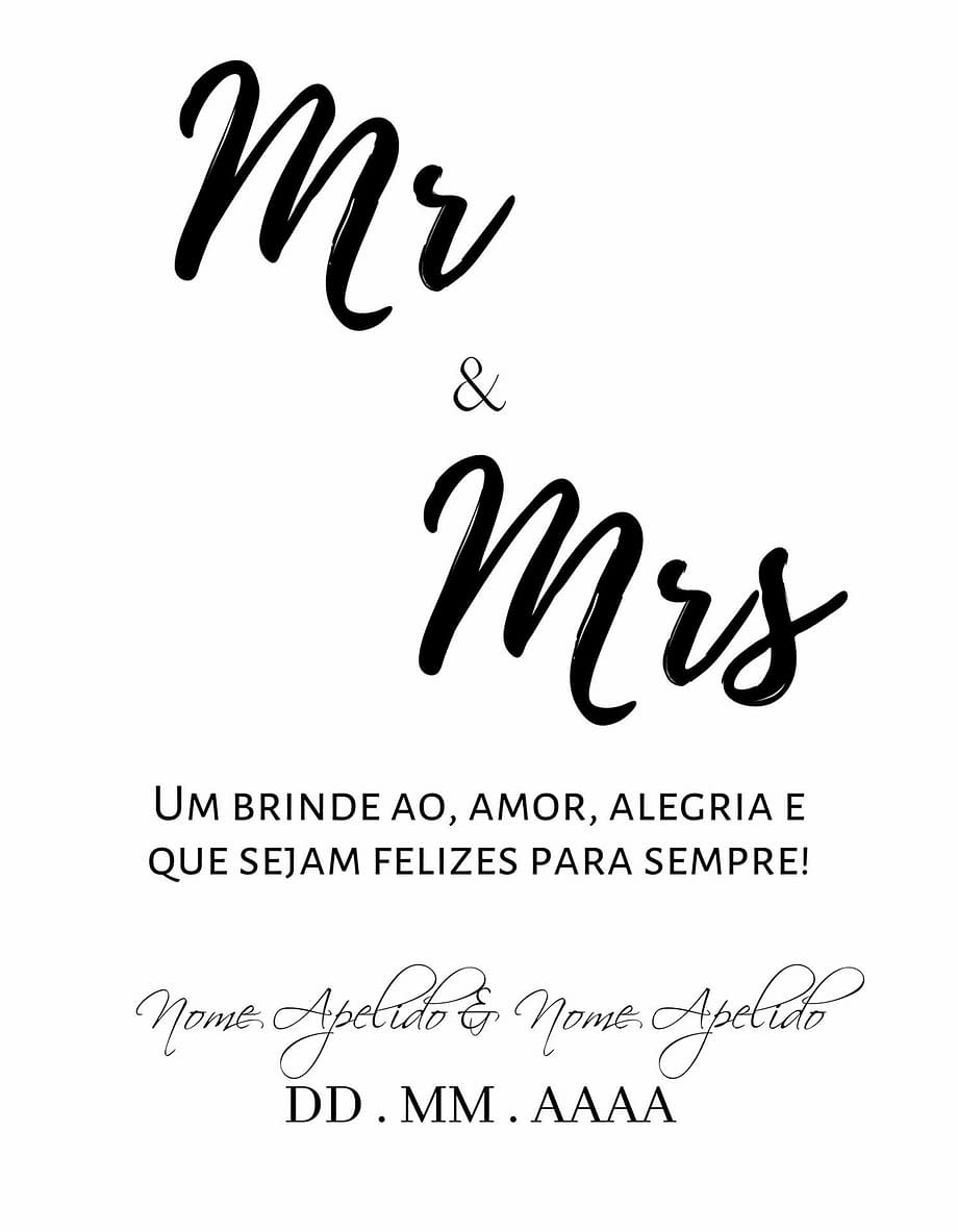 Rótulo personalizável - Casamento - Mr and Mrs: nomes e data personalizáveis. Letras pretas em fundo branco