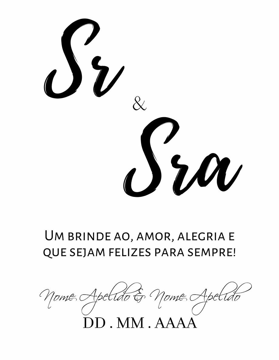 Rótulo personalizável - Casamento - Sr e Sra: nomes e data personalizáveis. Letras pretas em fundo branco