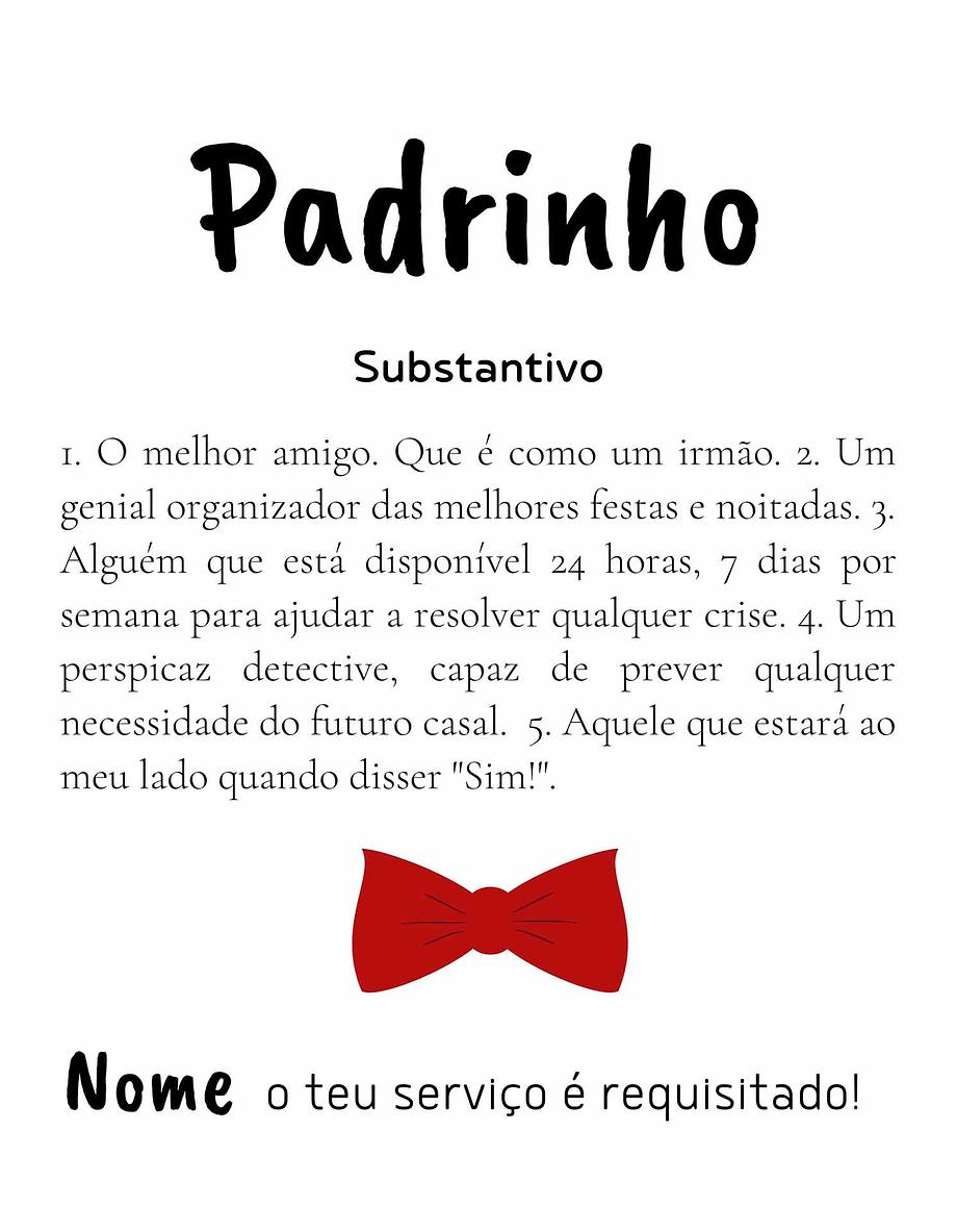 Rótulo personalizável - Padrinho - Definição com nome personalizável com laço vermelho