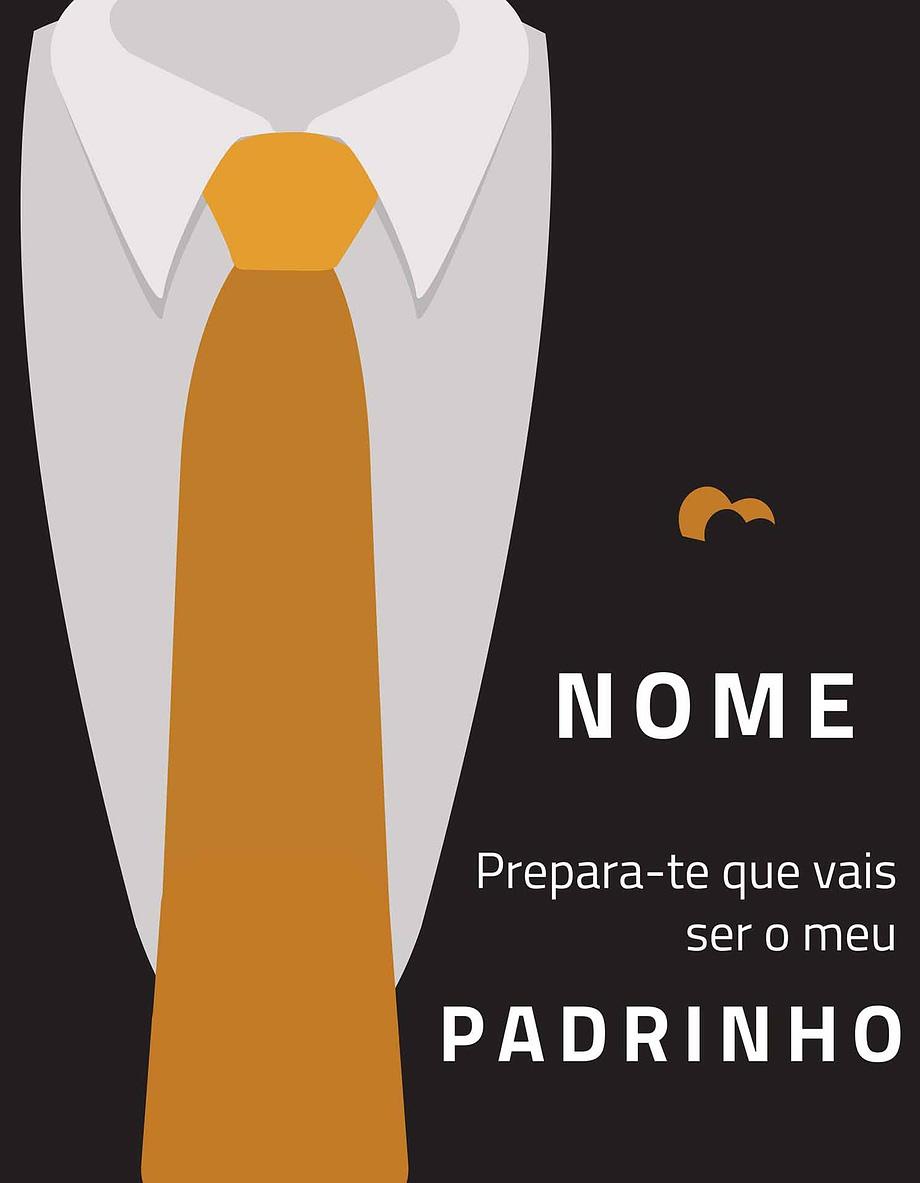 Rótulo personalizável - Padrinho - Fato com gravata amarela com nome personalizável