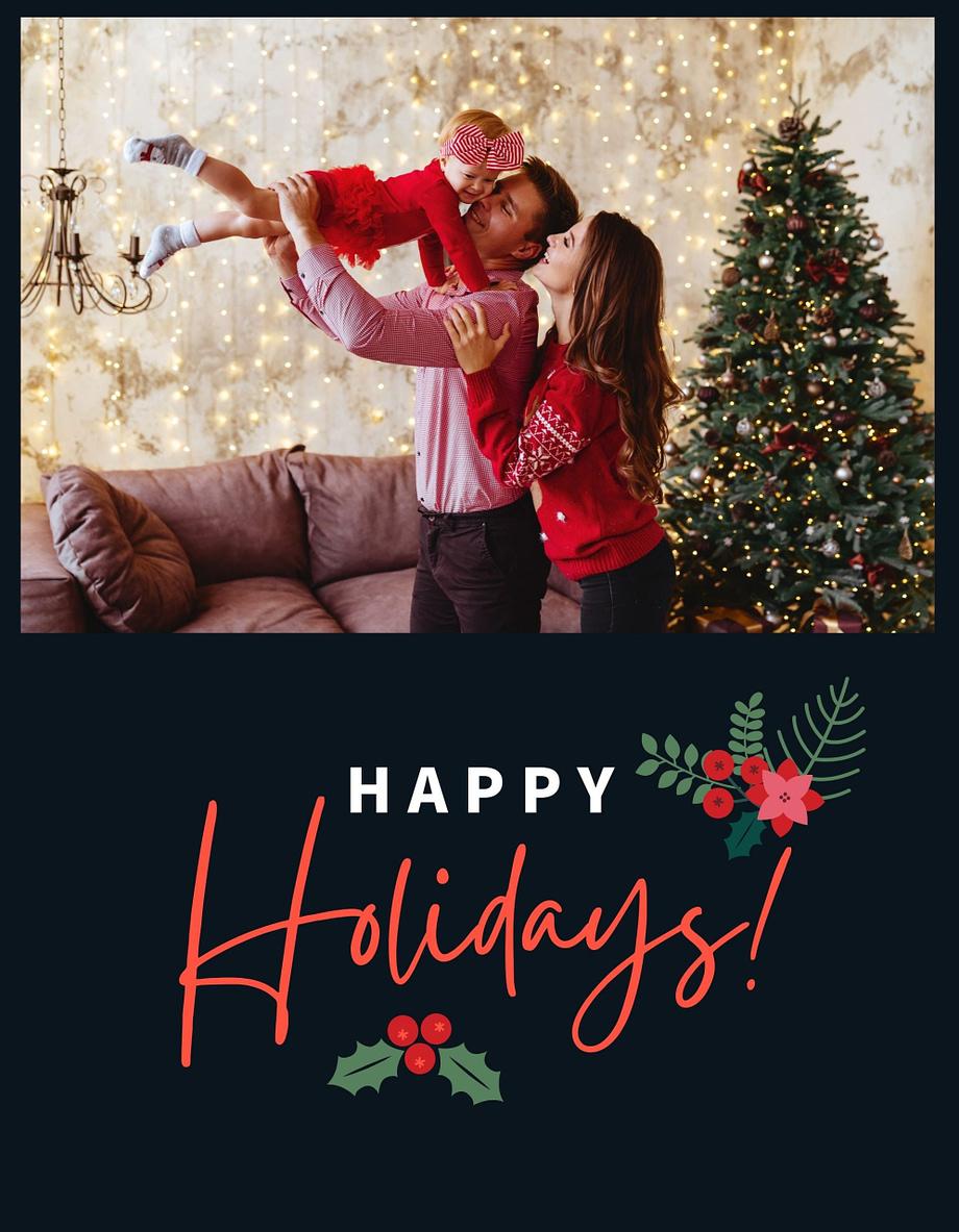 Rótulo natalício com fotografia personalizável e azevinho