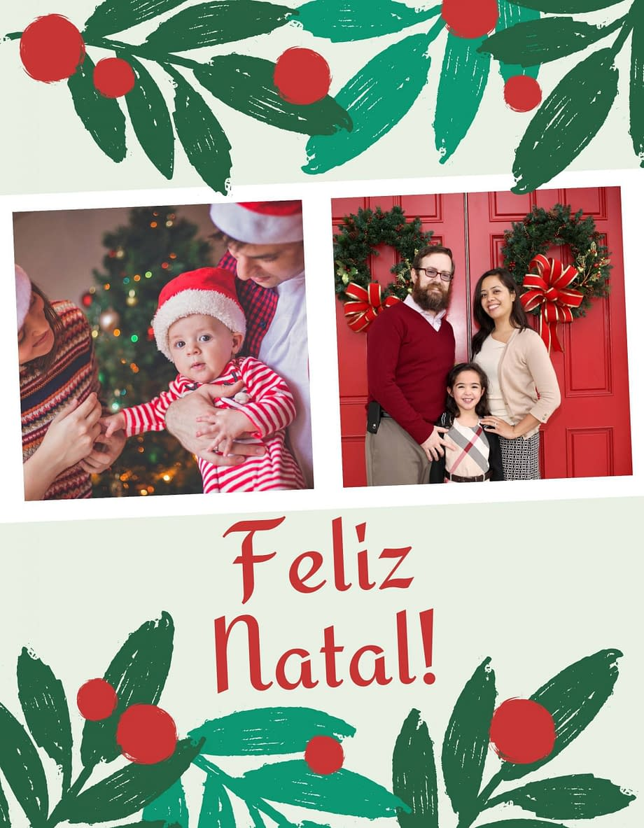 Rótulo de Natal com 2 fotografias personalizáveis