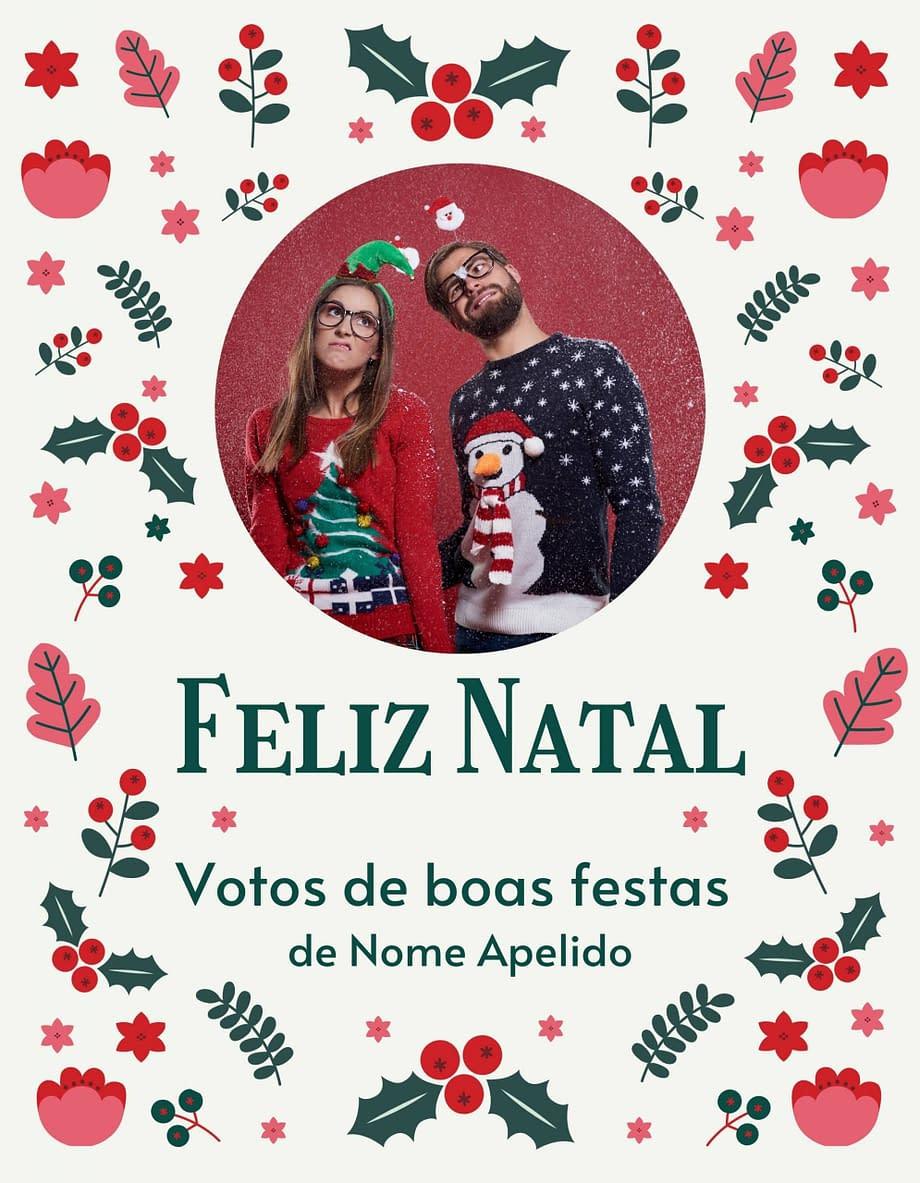 Rótulo de felicitações de Natal com fotografia e nome personalizáveis